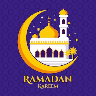 Flache art ramadan feier