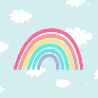 Flache art regenbogenillustration Kostenlosen Vektoren