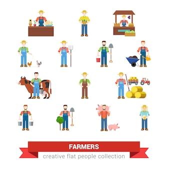 Flache art satz von bauernberuf arbeiter arbeiter landwirt landwirt marktverkäufer huhn schwein züchter mähdrescher milchmädchen imker melker kreative menschen sammlung