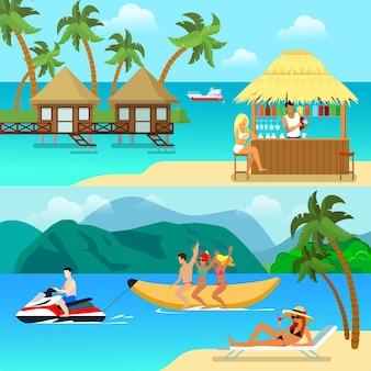 Flache art tropische resort-aktivitätsillustrationen. sexy blondine auf strandbar bungalow