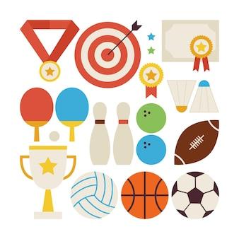 Flache art-vektor-sammlung von sport-erholungs- und wettbewerbsobjekten lokalisiert über weiß. satz von sport- und aktivitätsillustrationen. team spiele. erster platz. sammlung von sportartikeln