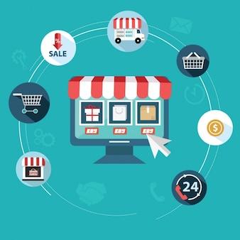 Flache artikel über online-shops