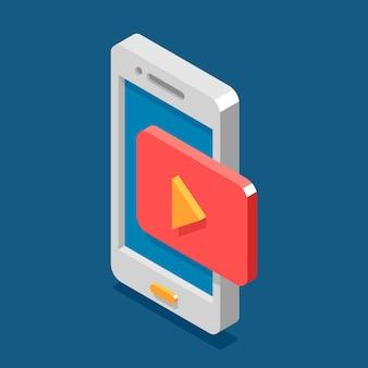 Flache artikone des isometrischen handys 3d. mobiles bloggen, video-streaming-konzept.