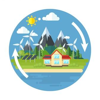 Flache artillustration der grünen energie