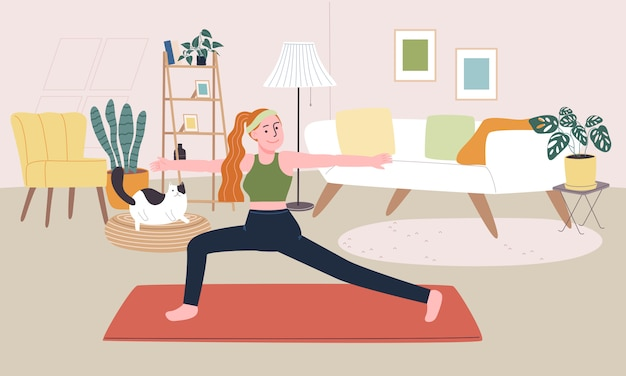 Flache artillustration der karikaturfrauenfigur machen yoga oder training im wohnzimmer. alltagsaktivität während der quarantäne. konzept von hobbyideen, die zu hause gemacht werden können.