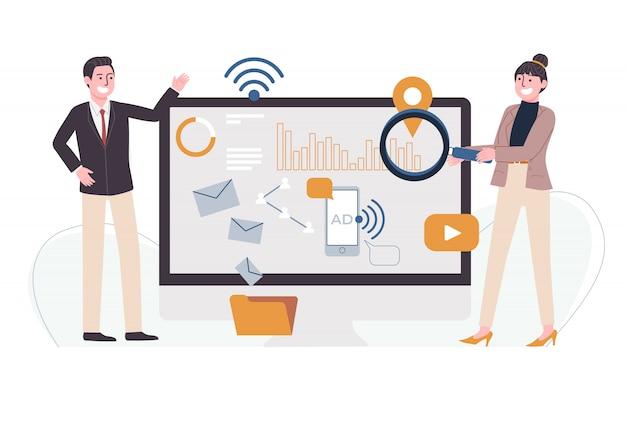 Flache artillustration der zeichentrickfigur, die mit grafik, diagramm, digitalem marketing-symbol auf riesenbildschirm steht. geschäftsanalyseplanung, projektmanagement, büroarbeitskonzept.