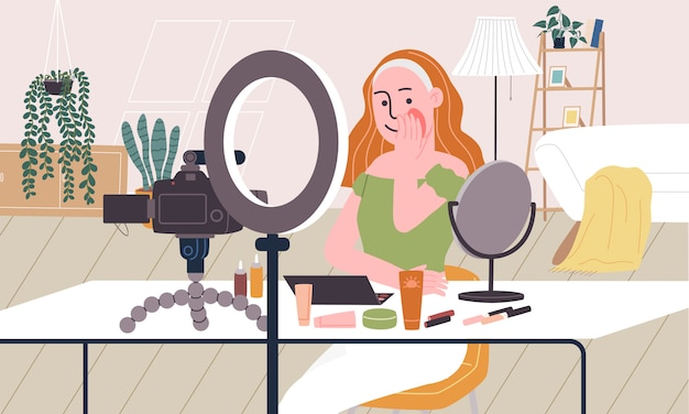 Flache artillustration des aufzeichnungsvideos der karikaturfrauenfigur, während auf schminken im wohnzimmer gesetzt. konzept des broadcast-videos, make-up-tutorial, live-streaming, beauty-blogger, vlog.