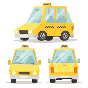 Flache artillustration des gelben autos des taxis.