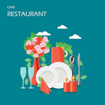Flache artillustration des restaurantservicevektors