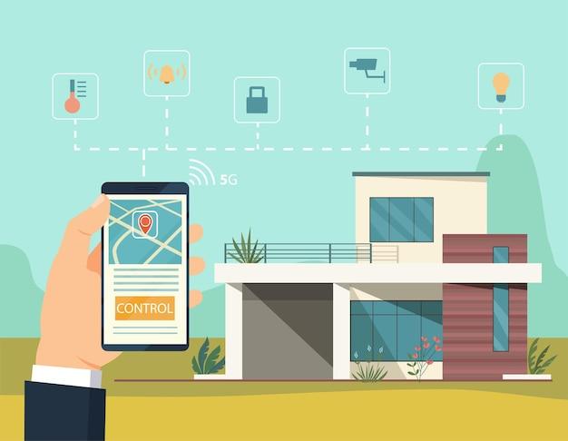 Flache artillustration des smart-home-konzepts