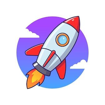 Flache artkarikaturillustration des raketenstarts
