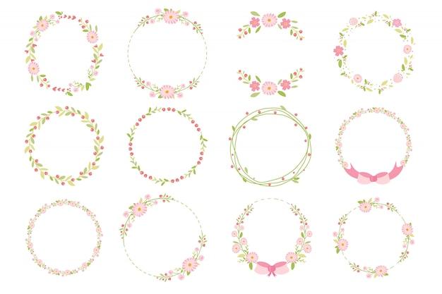 Flache artkollektion des rosa pastellgänseblümchenfrühlingskranzgekritzels