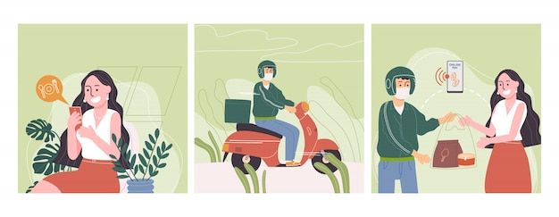 Flache artvektorillustration des cartoon-langhaar-frauencharakters bestellen essen online per handy.