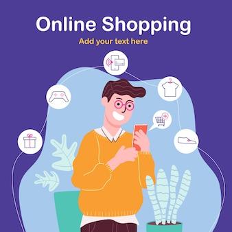 Flache artvektorillustration des glücklichen mannes der zeichentrickfigur, der online auf smartphone einkauft.