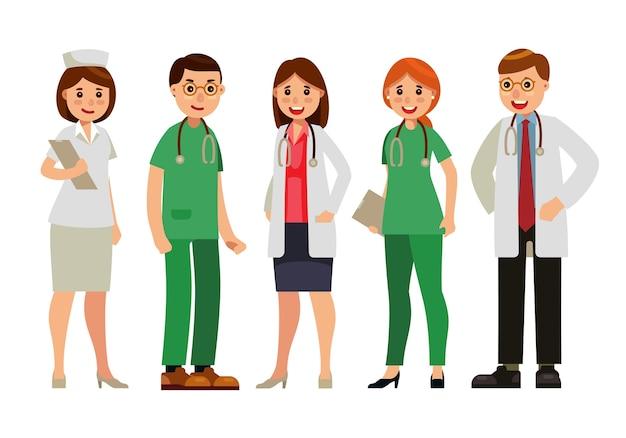 Flache artvektorillustration doktors und des ärzteteams
