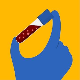 Flache artvektorkarikaturillustration der hand, die blauen gummihandschuh und die medizinische ausrüstung der löcher waring