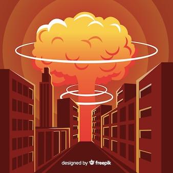 Flache atombombe in einer stadt