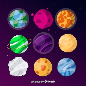 Flache außerirdische planetensammlung