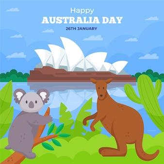 Flache australien-tagesillustration mit koalabär