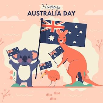 Flache australien-tagesillustration