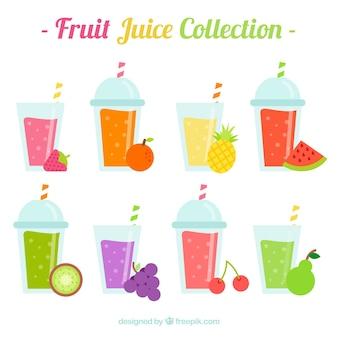 Flache auswahl von acht leckeren fruchtsäften