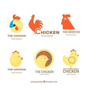 Flache auswahl von fantastischen logos mit hühnern