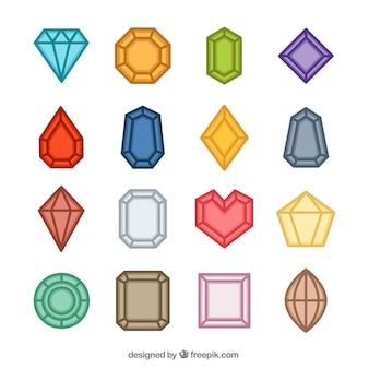 Flache auswahl von farbigen edelsteinen Premium Vektoren