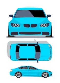 Flache autos des vektors in verschiedenen ansichten. blaue limousinenautofront-, spitzen- und seitenansichtillustration