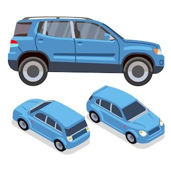 Flache autos des vektors in verschiedenen ansichten. blauer suv. blaue automobilillustration des autotransportes