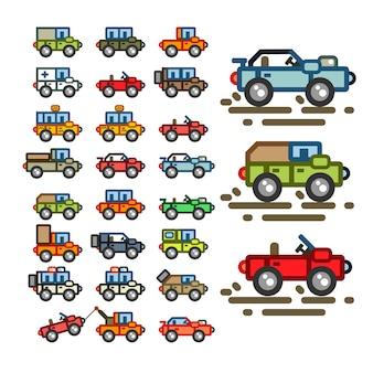 Flache autos für spielanwendungen