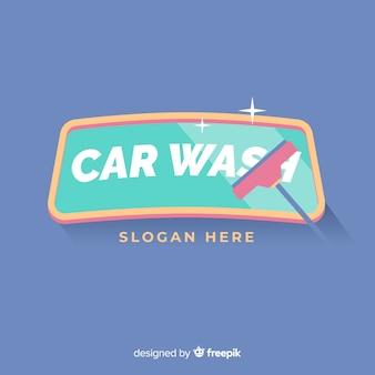 Flache autowaschanlage logo hintergrund