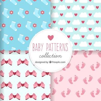 Flache baby-muster mit niedlichen designs