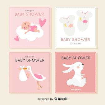 Flache babyparty-kartensammlung
