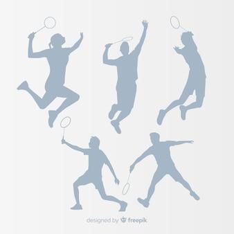Flache badmintonspieler-schattenbildsammlung