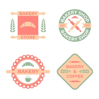 Flache bäckerei logo badge collection