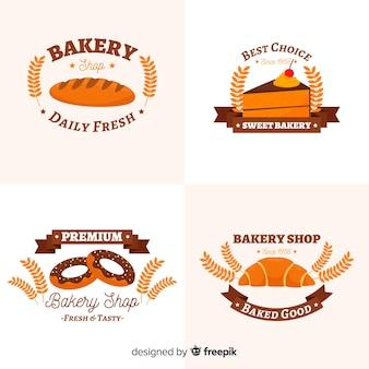 Flache bäckerei-logo-pack