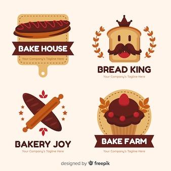 Flache bäckerei logo vorlage