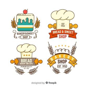 Flache bäckerei logos vorlage