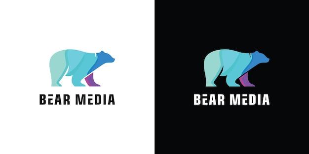 Flache bärenweg-logosymbolillustration premium-vektor