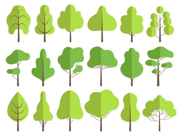 Flache bäume. naturgrüne sammlung von pflanzenvektor-baumillustrationen. natürliches grün des waldbaums, satz von pflanzen