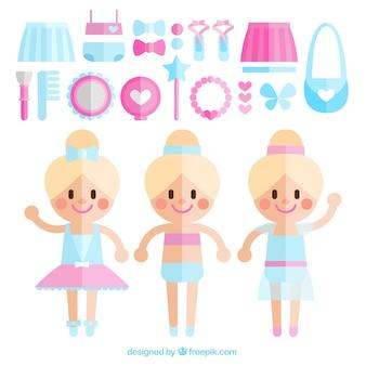 Flache ballerinas mit rosa und blau zubehör