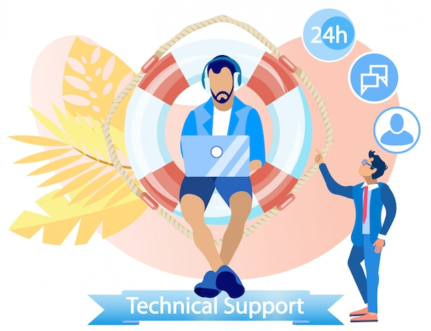 Flache banner-beschriftung technischer support-cartoon.