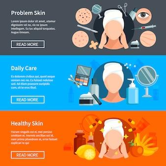 Flache banner der hautpflege mit problemhautbehandlungen, täglicher kosmetik und gesunder haut
