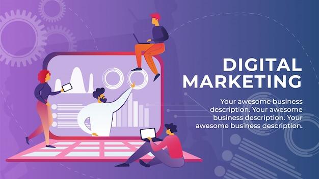 Flache banner ist digital marketing cartoon geschrieben.