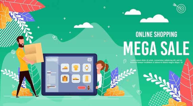 Flache banner ist online-shopping mega sale geschrieben.