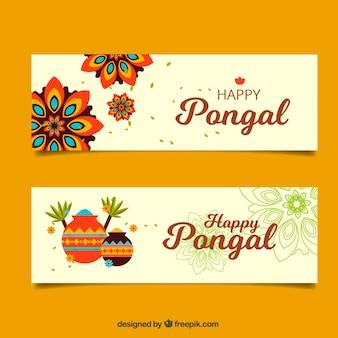 Flache banner mit mandalas und dekorative töpfe für pongal