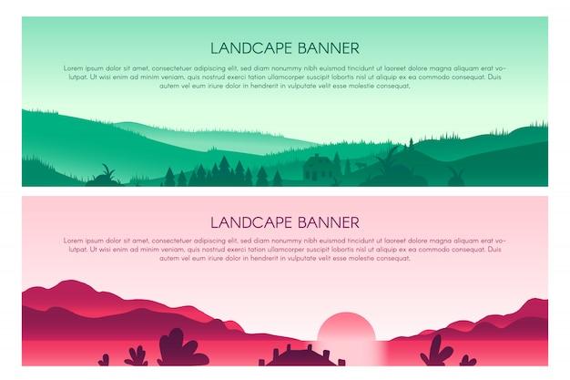 Flache banner-vorlagen der landschaft gesetzt