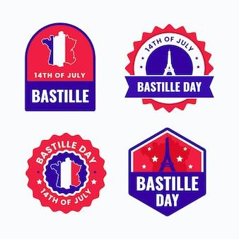 Flache bastille-tagesabzeichen-sammlung