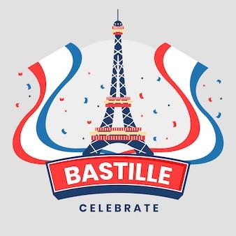 Flache bastille-tagesillustration