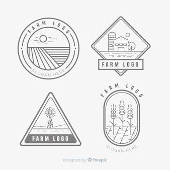 Flache bauernhof logo vorlagensammlung